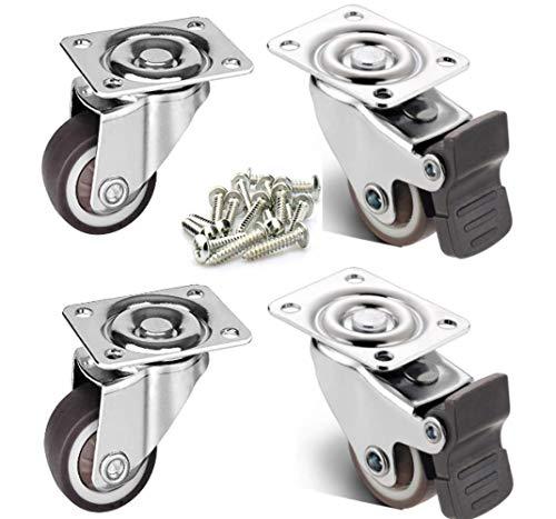 """4 Pack 1/"""" Low Profile Casters Wheels Soft Rubber Swivel Caster 100 lb Total"""