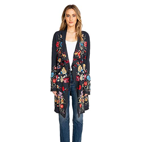 Johnny Was Shixuo Wrap Dark Blue Jacket Flower Embroidered New