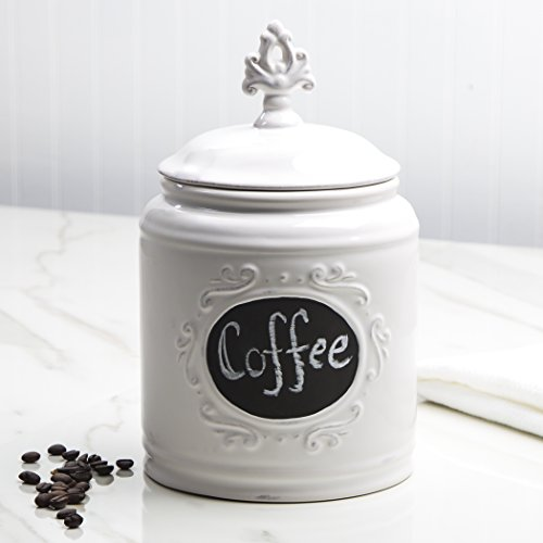 Ceramic Round Chalkboard Medallion Canister Jars with Tight Lids for Kitchen or (Small Kitchen Canister)