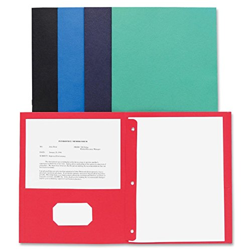 Business Source Two Pocket Folder - Letter - 8.50quot; Width x 11quot; Length Sheet Size - 100 Sheet Capacity - 3 x Prong Fastener - 2 Pockets - Leatherette - Assorted - 25 / Box (Business Source Two Pocket Folder)