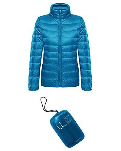 Uni Turquoise Femme Blouson AJFASHION Manches Doudoune Longues qxYURE7z
