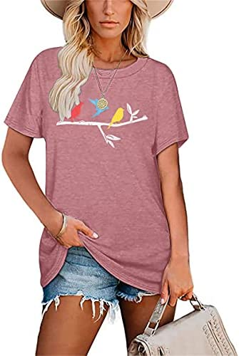 Birds On A Wire Women T-Shirts Cute Funny Print Graphic Bird Lovers Gift Tees Casual Watchers Tops