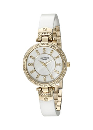 Armitron Women's 75/5313MPGPWT Swarovski Crystal Accented Gold-Tone and White Ceramic Bangle Watch