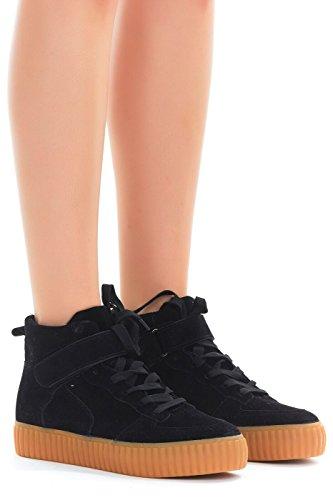 Emma Shoes Women Faux Suede Lace up Creeper Platform Sneaker (11, High Top Black)