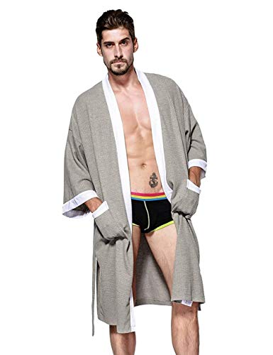 WEEN CHARM Mens Waffle Weave Kimono Robe Cotton Spa Bathrobe Lightweight Soft Knee Length Sleepwear with Pockets Grey-White