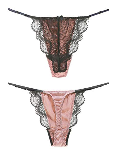 SilRiver Womens Silk Lace G-String Thong Panty, Sexy T-Back Underwear with Soft Satin (Living Coral, S/M)