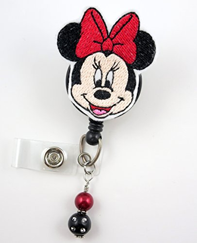 Girl Mouse Red Bow-Nurse Badge Reel - Retractable ID Badge Holder - Nurse Badge - Badge Clip - Badge Reels - Pediatric - RN - Name Badge Holder