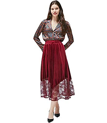 Medeshe Women's High Elastic Waist A-line Flared Warm Pleated Maxi Skirt