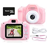 Kids Camera 1080P HD Digital Video Camera Best Gift for Kids, 8.0MP Mini Children Camera Toys Funny Photo Frames Classic Puzzle Games,Safety Material Child Cartoon Camera Include 16G Memory Card(Pink)