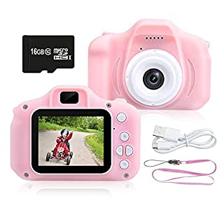 JERICETOY Kids Camera 1080P HD Digital Video Camera Best for Kids, Mini Children Camera Toys Funny Photo Frames Classic Puzzle Games,Safety Material Cartoon Camera Include 16G Memory Card(Pink)