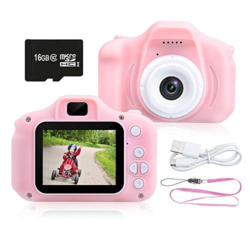 Kids Camera 1080P HD Digital Video Camera Best Gift for Kids, 8.0MP Mini Children Camera Toys Funny Photo Frames Classic Puzzle Games,Safety Material Child Cartoon Camera Include 16G Memory Card(Pink) from AJES