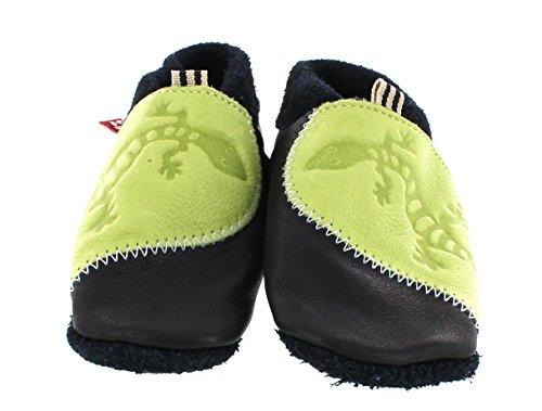 Pololo Gecko blau/grün 113713 - Zapatos para bebé de cuero para niño Grün