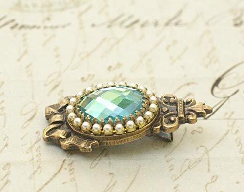VANY Antique crystal barrette pearl Jane Austen Georgian aqua jewel brass bow aquamarine rhinestone antique elegant bridal something blue wedding -