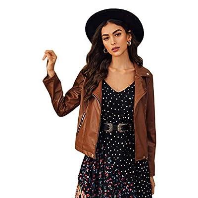 SheIn Women's Zipper Front Casual PU Leather Cropped Jacket Long Sleeve Bolero at Women's Coats Shop