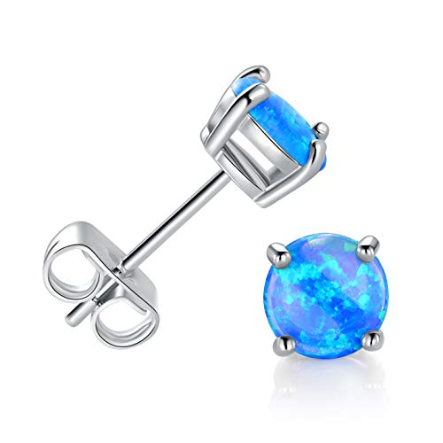 GEMSME Created blue Opal 6mm Round Stud Earrings