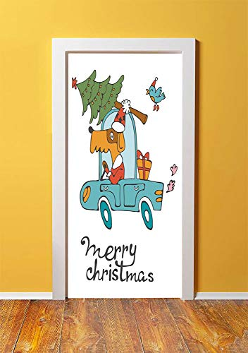 (Christmas 3D Door Sticker Wall Decals Mural Wallpaper,Blue Vintage Car Dog Driving with Santa Costume Cute Bird Tree and Gift Present,DIY Art Home Decor Poster Decoration 30.3x78.9988,White)
