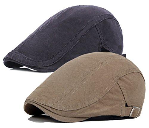 Qunson 2 Pack Men's Cotton Flat Newsboy Cap Ivy Gatsby Hat