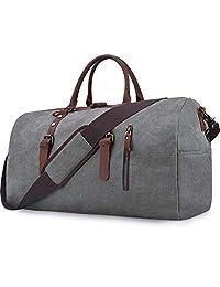 Oversized Travel Duffel Bag for Men Women Carry on Canvas Leather Bag Weekender Overnight Duffle Shoulder Handbag Grey