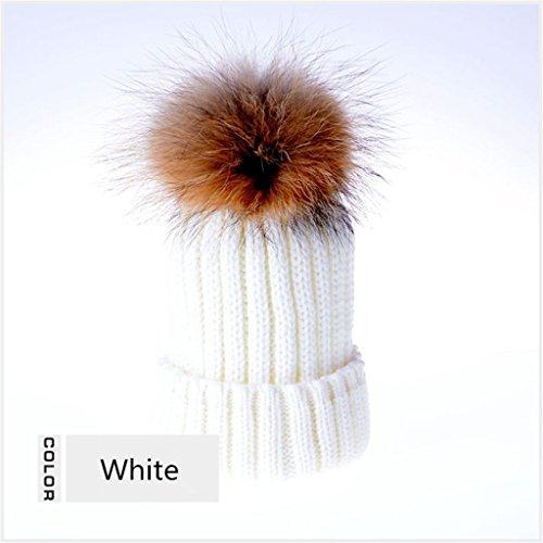 Seeshine Imitation Raccoon Ball Wool Cap Thick Warm Knitted Hat (Jughead Costume Hat)