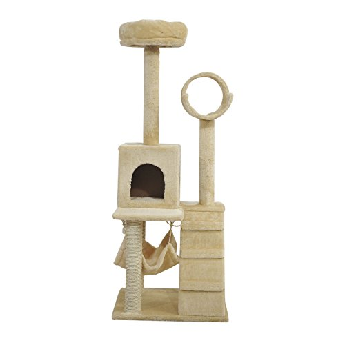 """new 52"""" Cat Tree Scratching Tower Post Condo Pet House Scratch Furniture New Beige"""