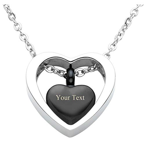 Personalized Master Free Engraving Custom Stainless Steel Double Heart Cremation Urn Necklace Pendant for Ashes Keepsake Memorial with Funnel Fill Kit and Gift Box