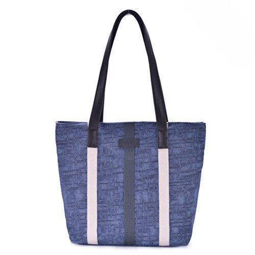 YUYO - Bolso al hombro de Lona para mujer Blue Vertical Stripes