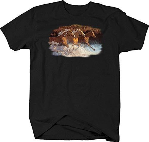Water Stallion T-shirt - MiaoLe Three Brown Stallion Horse Galloping Through Water Tshirt