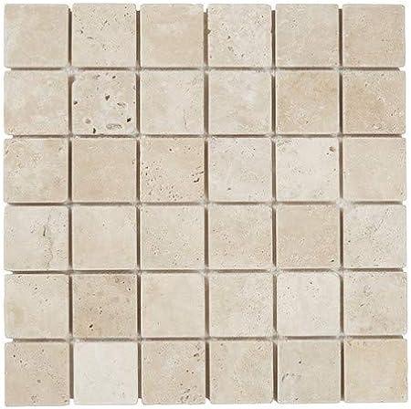 Mosaique En Pierre Naturelle Carreaux Carrelage Mural Blanc Blanche Beige 30 X 30 Cm Sur Filet Amazon Fr Bricolage