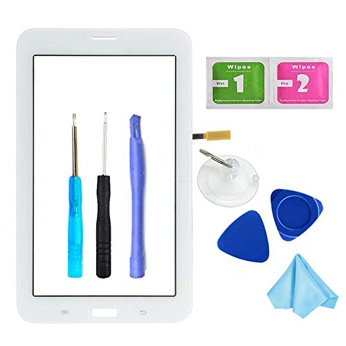 igitizer for Samsung Galaxy Tab 3 Lite 7.0 - Glass Replacement for SM-T110 T110 (Not Include LCD,WiFi Ver.No Speaker Hole) with Tools + Pre-Installed Adhesive ()