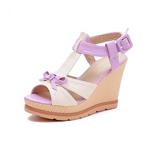 VogueZone009 Women's Open Toe High-Heels Soft Material Assorted Color Buckle Sandals Purple