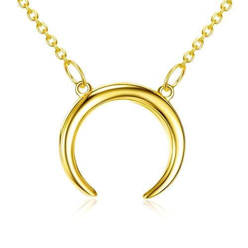 LEMONDROP Crescent Moon Necklace Double Horn Pendant in 18K Gold Over 925 Sterling Silver