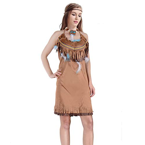 Adult Women Sexy Pocahontas Princess Indigenous Costume Powhatan Native American Indian Cosplay (S, Brown)]()