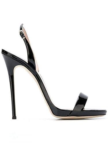 b1fc8a6becdbe Amazon.com: Giuseppe Zanotti Design Women's I700047019 Black Leather  Sandals: Shoes