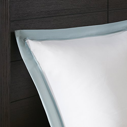 Madison Park Stratford Duvet Cover Full/Queen Size - Aqua, Geometric Duvet Cover Set – 7 Piece – Ultra Soft Microfiber Light Weight Bed Comforter Covers