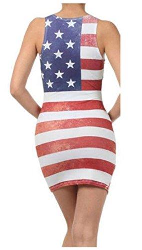 Femmes Domple Imprimé Drapeau Américain Mini Moulante Sans Manches Classique Col Rond Robe 1