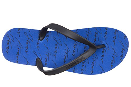 Armani Jeans Herren Gummi Flip Flops Zehentrenner Sandalen blu