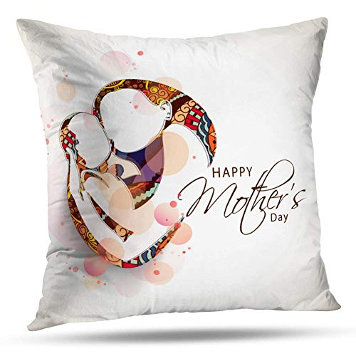 - Kayel Interior Decoration Pillowcase Creative Sketch Mom with Her Child Floral Happy Mother Day for Bedroom Sofa Iiving Room Cushion Pillowcase Home Decoration 18x18 Inch