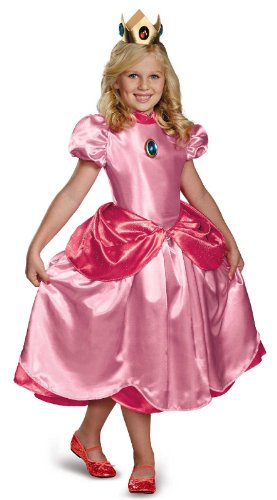 Princess Peach And Mario Costumes - Nintendo Super Mario Brothers Princess Peach Deluxe Girls Costume, Small/4-6x