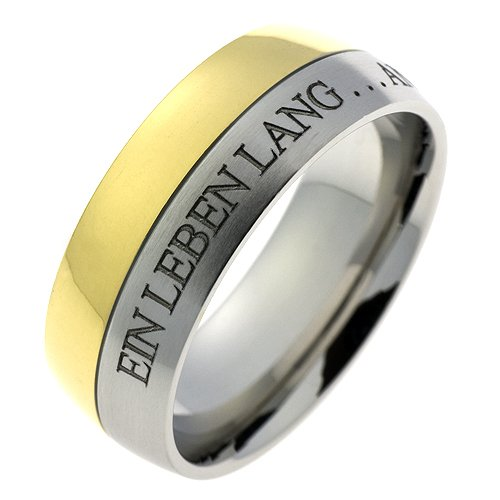 Schumann Design Ehering / Trauring / Partnerring core.emotion Edelstahlring Bicolor PVD beschichtet mit Aussengravur Ein Leben lang an deiner Hand... TE300.54