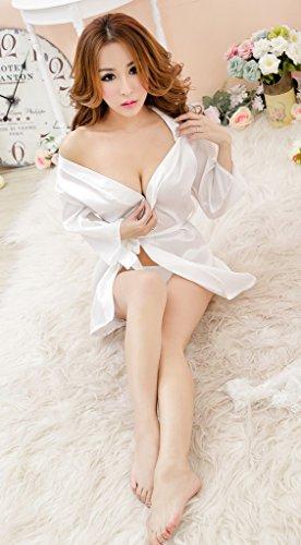 toyobuy mujeres encaje Sheer casa Belted V cuello camisón Blanco