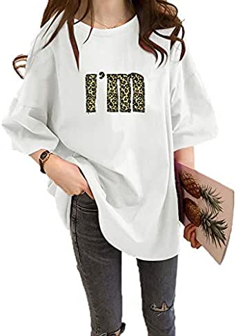 Womens T Shirt Leopard Letter Design O Neck Top Candy Colors Loose Student Style Short