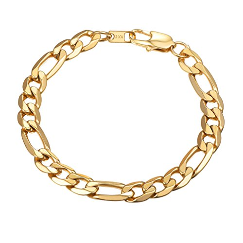 - PROSTEEL 18K Gold Plated Figaro Link Chain Bracelet 9mm 7.5'' Men Hip Hop Jewelry