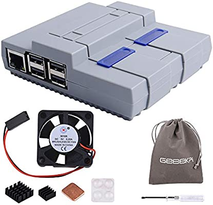 GeeekPi Raspberry Pi 3 B + Caja con ventilador, SNESPI Caja NES Caja con Raspberry Pi disipador para Raspberry Pi 3/2 modelo B: Amazon.es: Informática