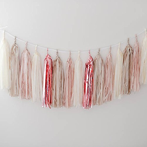 GUZON 20 PCS Tissue Paper Tassel Rose Gold Foil Pink Tan and Ivory DIY Party Garland for Birthday, Bridal Shower, Baby Shower, and All Events(Rose Gold)