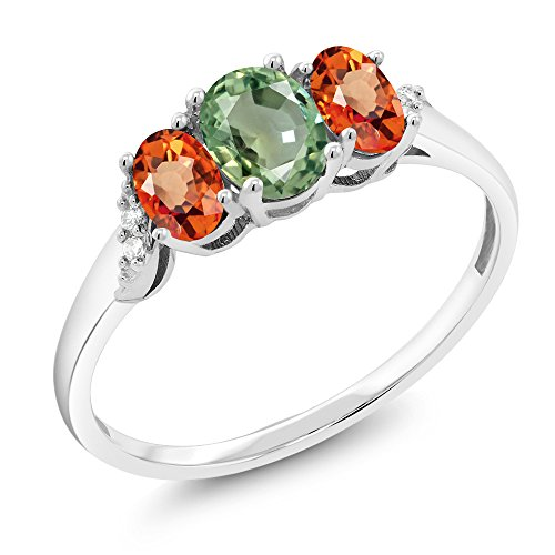 10K White Gold Green Sapphire Orange Sapphire and Accent Diamond 3-Stone Women's Ring (1.12 Ct Available in size 5, 6, 7, 8, (Diamond Orange Sapphire Gold Jewelry)