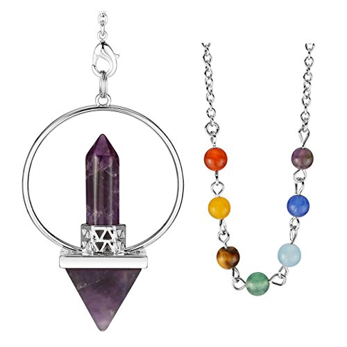 Jovivi Natural Amethyst Crystal Quartz Pyramid Crystal Point Pendulum with 7 Chakra Gemstones Bead Chain - Dowsing, Scrying, Healing (Amethyst) ()