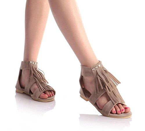Scrub Yellow Tassel Black Large Toe Flat Rivets Open Beige Beige 43 Shoes 40 Women Size Sandals wI4q7ETA