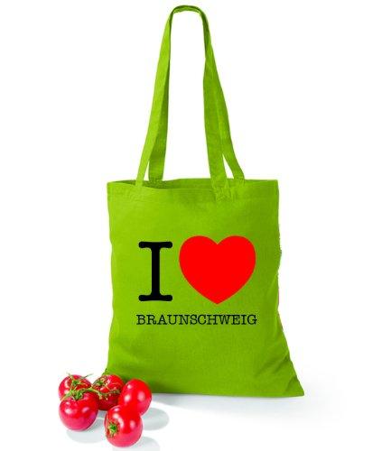 Artdiktat Baumwolltasche I love Braunschweig Kiwi d9lxfy