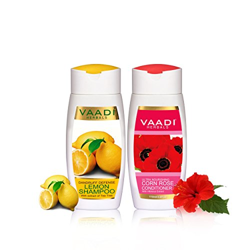 Lemon with Tea Tree Extract Shampoo and Corn Rose Conditioner Dandruff Defense Shampoo ALL Natural Paraben Free Suitable for All Hair Types - Each Pack of 110ml - Vaadi Herbals (Alcohol Free Herbal Shampoo)