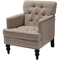 Best Selling Home Decor Malone Club Chair -, Beige, Fabric